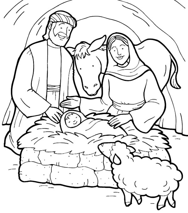600x680 Jesus Coloring Pages Free Printable Ba Jesus Coloring Page