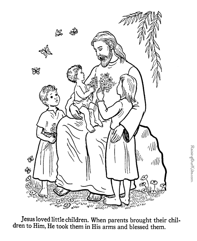 670x820 Jesus With Children Coloring Pages Collection