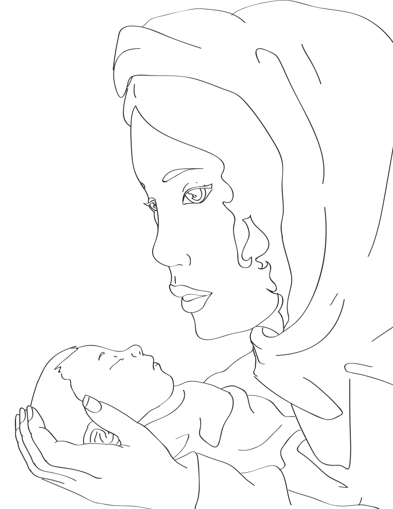 791x1024 Mary And Baby Jesus Coloring Page Miniature Masterminds