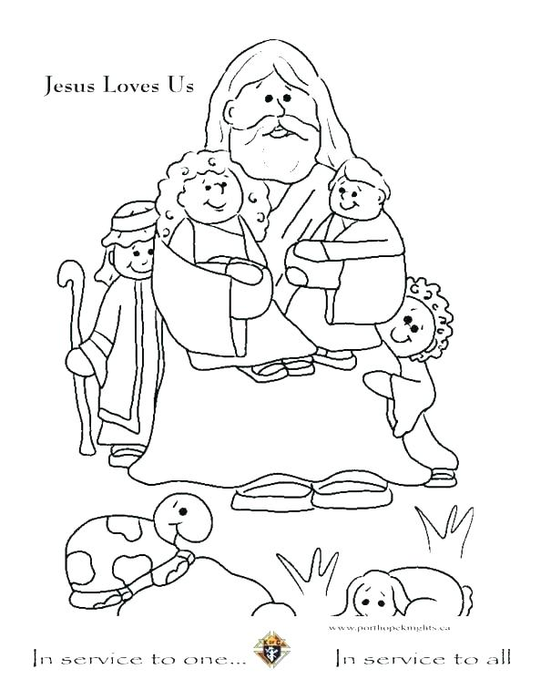 594x768 Jesus And Children Coloring Page