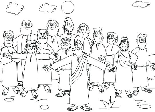 542x392 Jesus And Disciples Coloring Page Magnificent Jesus