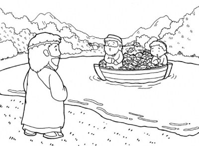 400x294 Jesus And The Fisherman Coloring Page