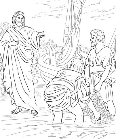 403x480 Jesus Calls The First Disciples Coloring Page Biblie Copii