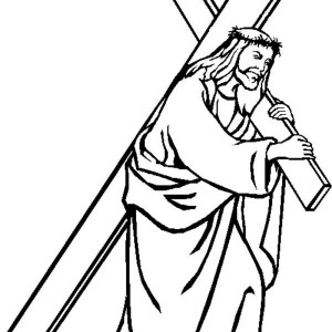 300x300 Good Friday Coloring Pages Jesus Carrying Cross Batch Coloring