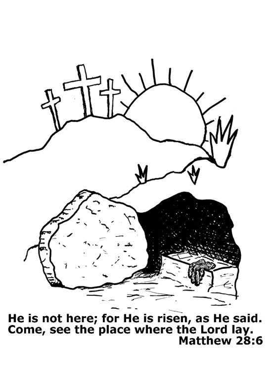 546x753 Easter Coloring Page For Children Picture The Empty Tomb