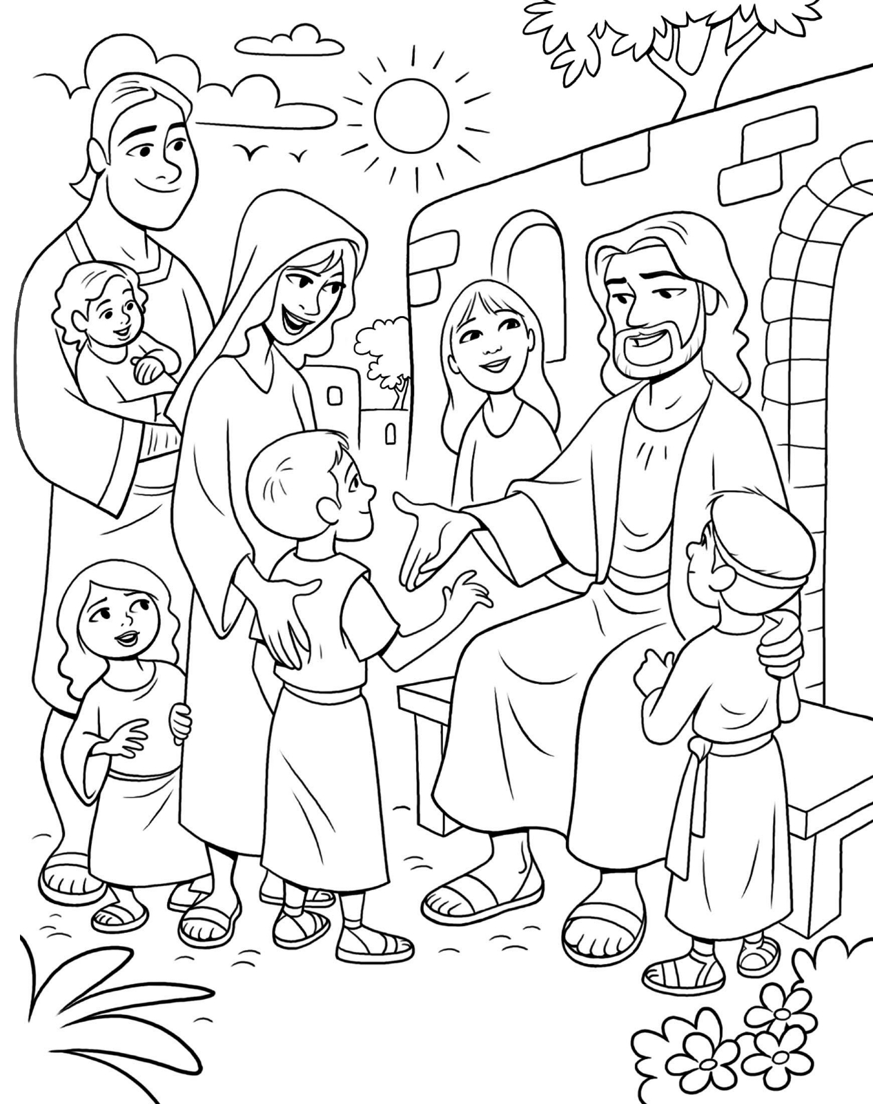 1265x1600 Jesus And Children Coloring Page Free