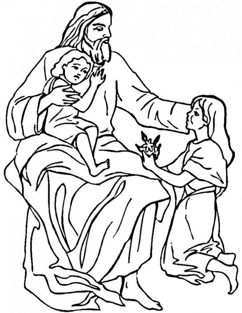 792x1024 Jesus And Children Coloring Page