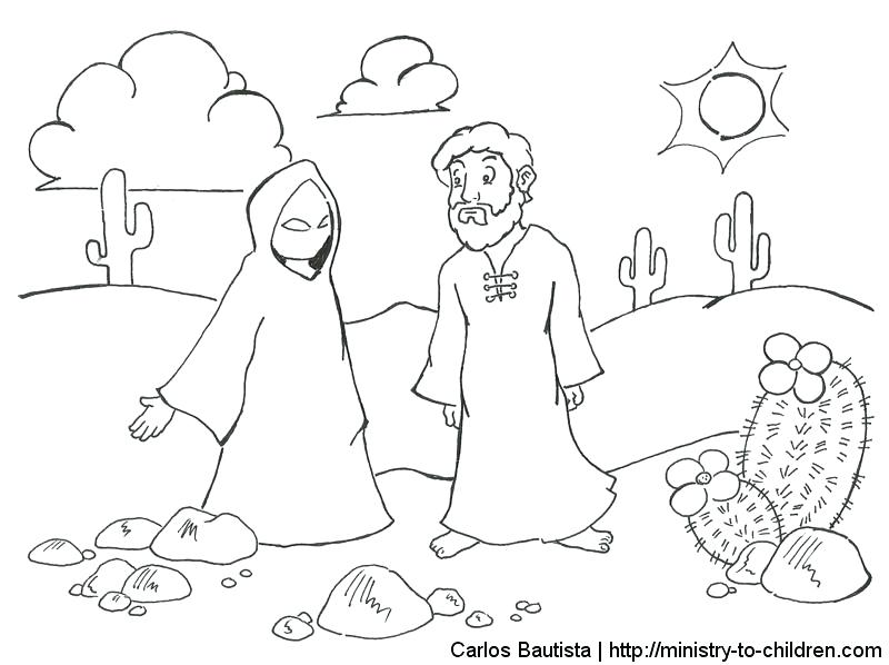 800x598 Jesus Coloring Pages For Kids Printable Temptation Of Coloring