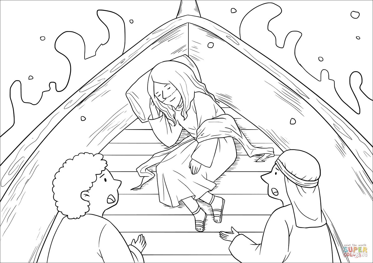 1500x1060 Jesus Calms The Storm Mark Coloring Page Free Printable
