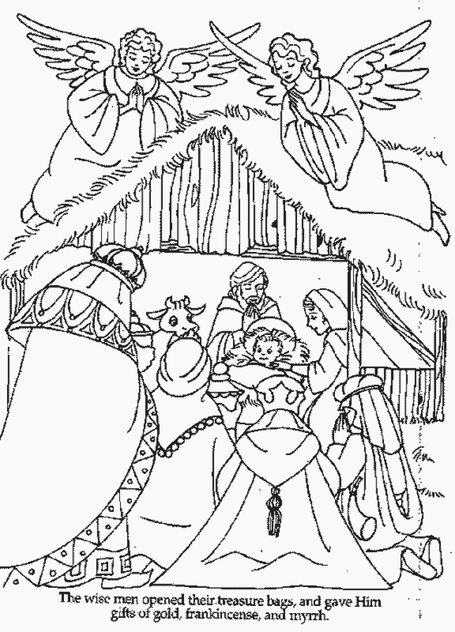 648x900 Christmas Coloring Pages Santa And Baby Jesus Nativity