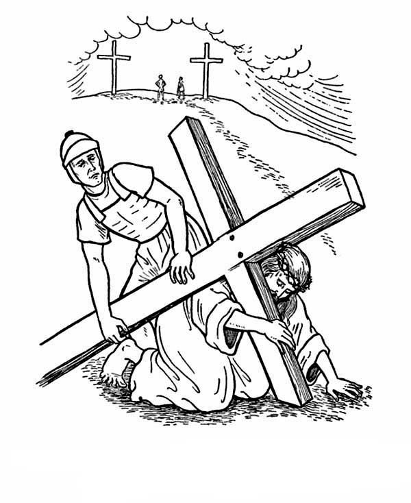 600x734 Good Friday Coloring Pages Jesus Crucifix On Cross Batch Coloring
