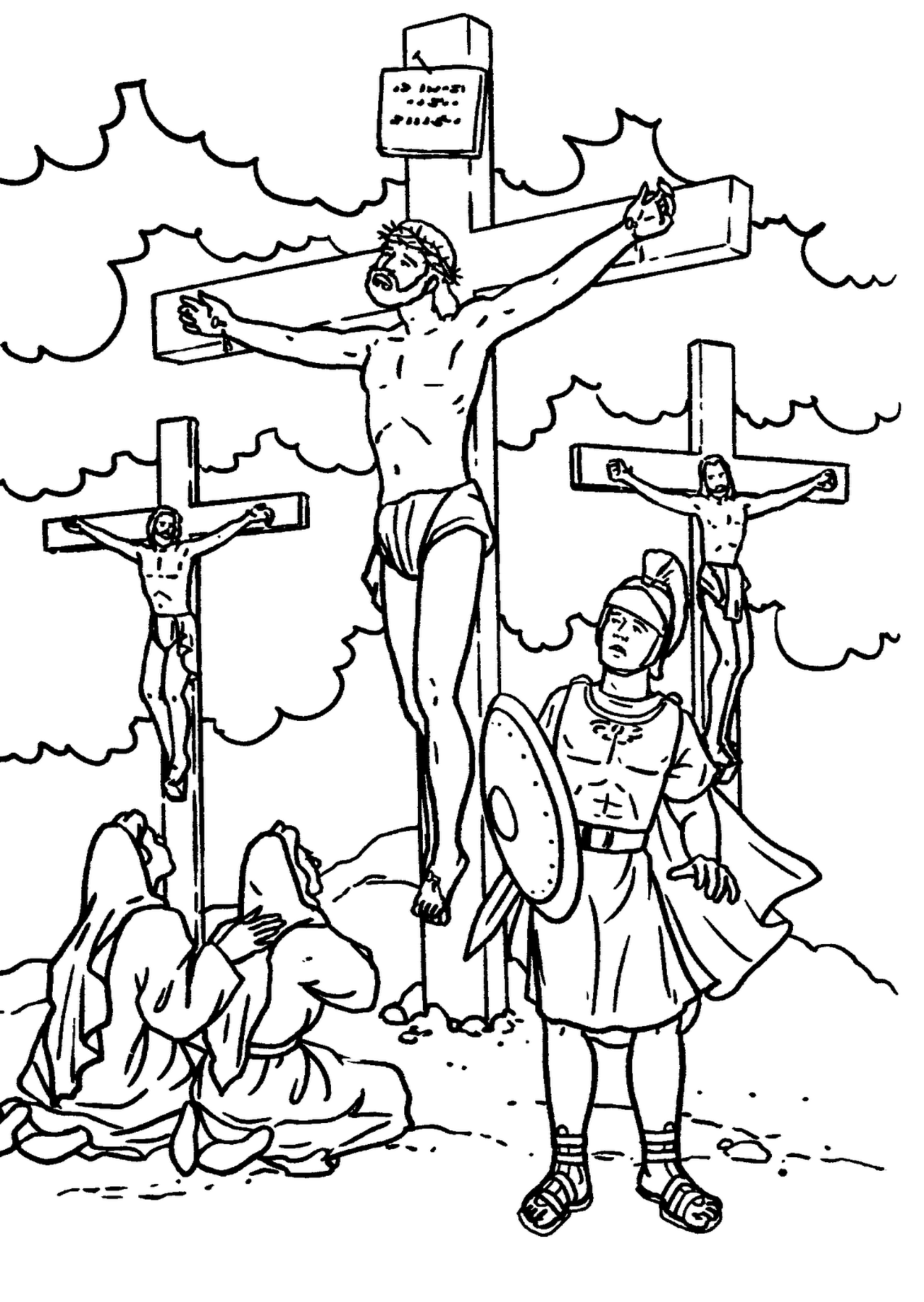 1306x1840 Jesus Crucified On The Cross Coloring Page Free Printable At Pages