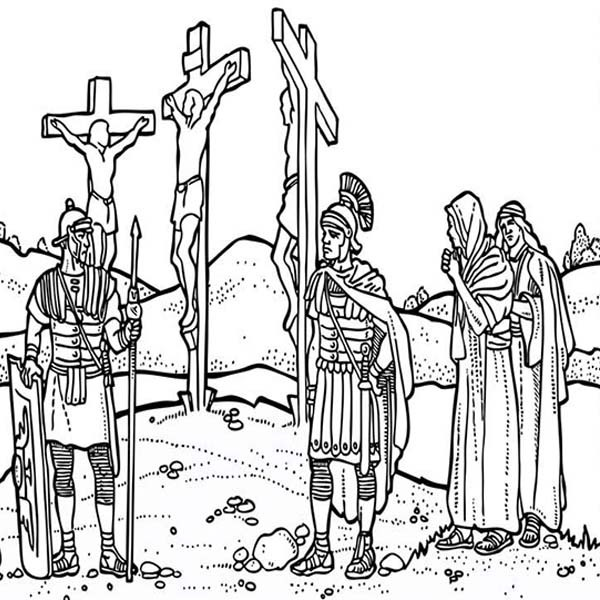 600x600 Good Friday Coloring Pages Depiction Of Jesus Crucifixion Batch