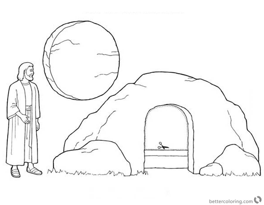 900x700 Empty Tomb Cloring Pages Jesus Is Risen Easter Coloring Pages