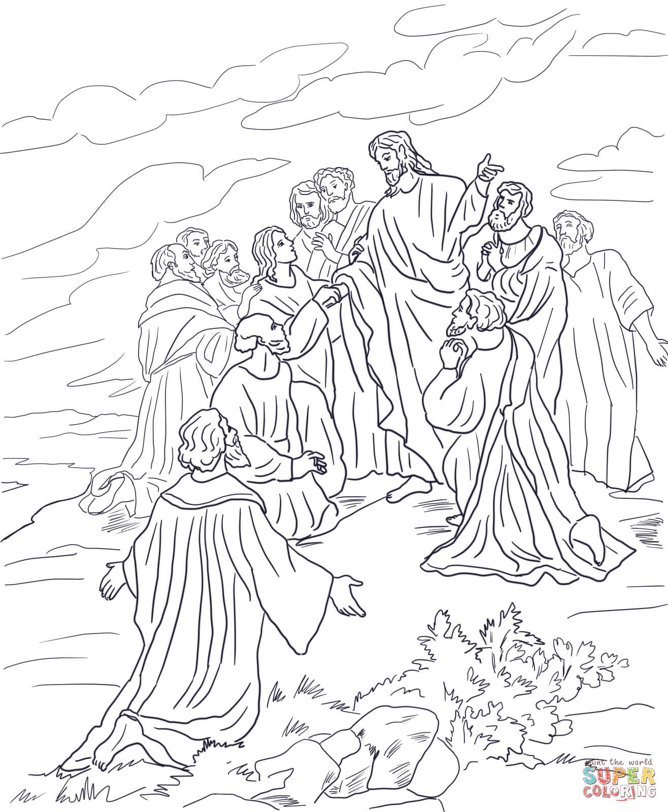 1316x1600 Great Commission Coloring Page With Jesus Resurrection Pages