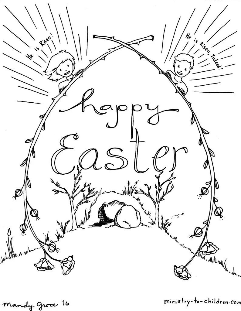 794x1024 He Is Risen Coloring Page