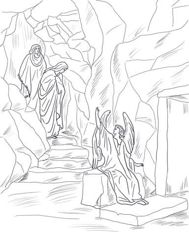 384x480 Angel Tells The Women That Jesus Has Risen Coloring Page