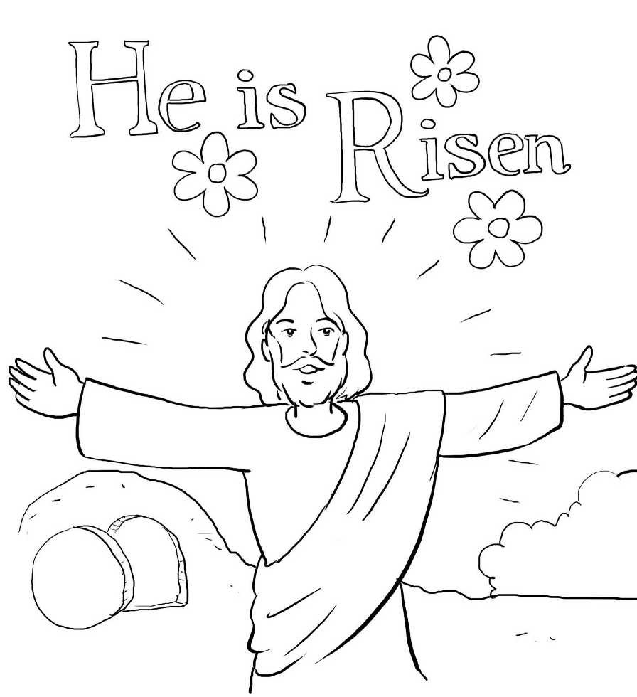 896x980 Coloring Page Jesus Has Risen Resurrection On Easter Sunday