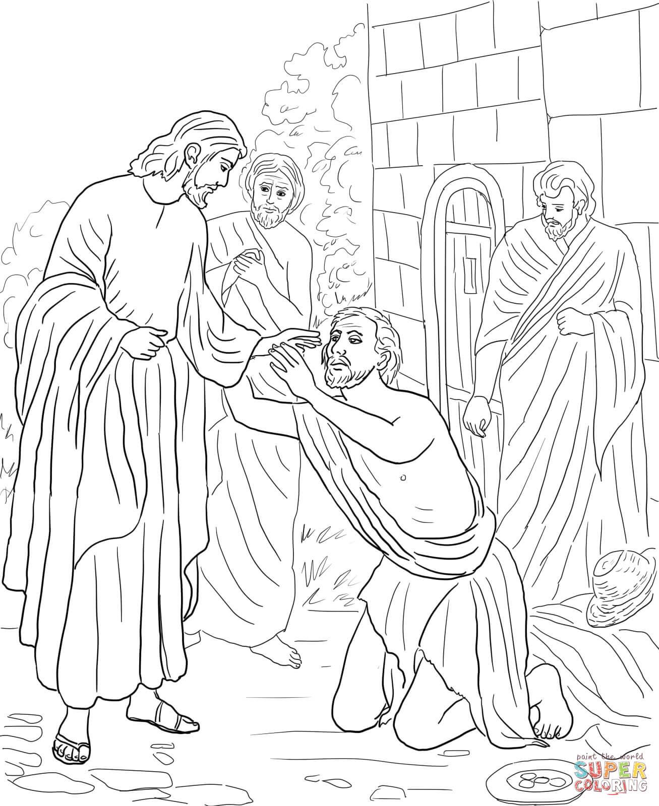 1307x1600 Jesus Heals Blind Bartimaeus Inspirational Jesus Heals The Blind