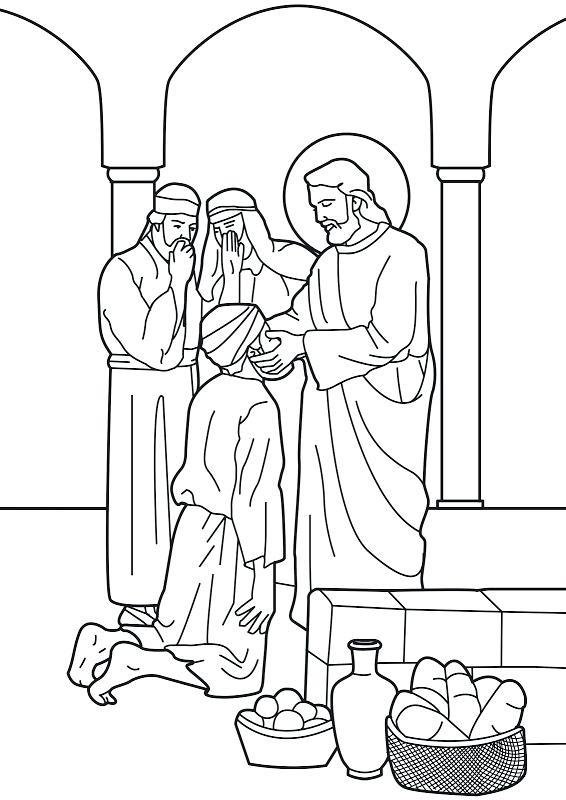 566x800 Jesus Heals The Blind Man Coloring Page Captivating Jesus Heals