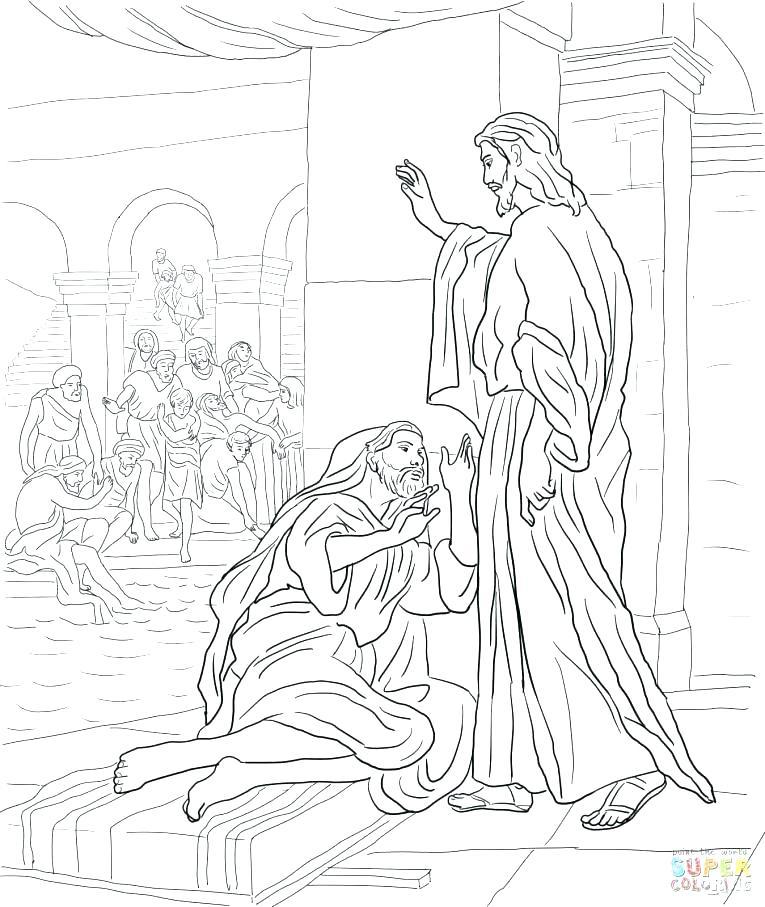 765x907 Jesus Heals Paralytic Coloring Page Coloring Page Heals