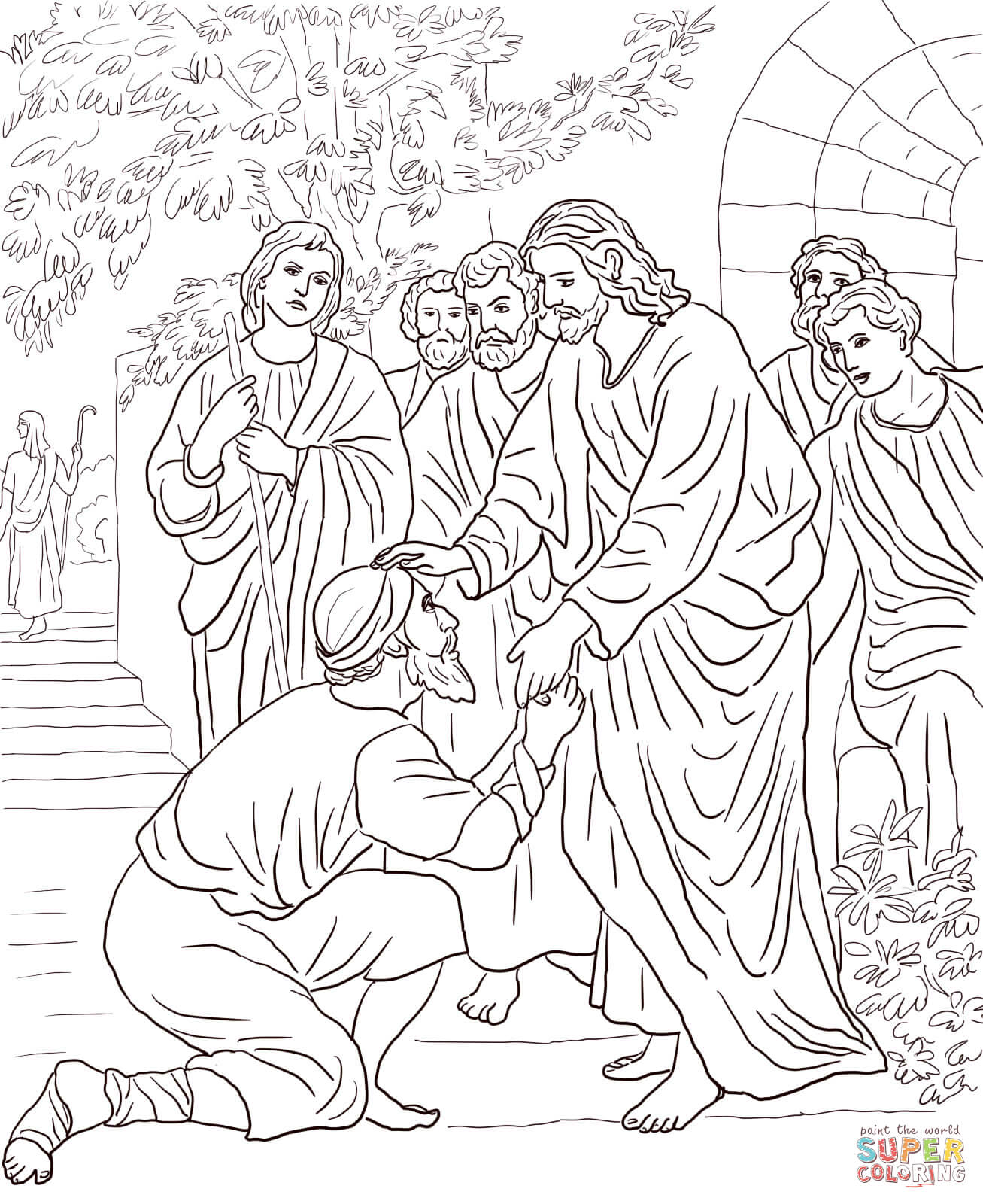 1307x1600 Marvelous Jesus Heals The Blind Man Coloring Page