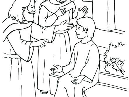 440x330 Jesus Heals Blind Bartimaeus Coloring Page