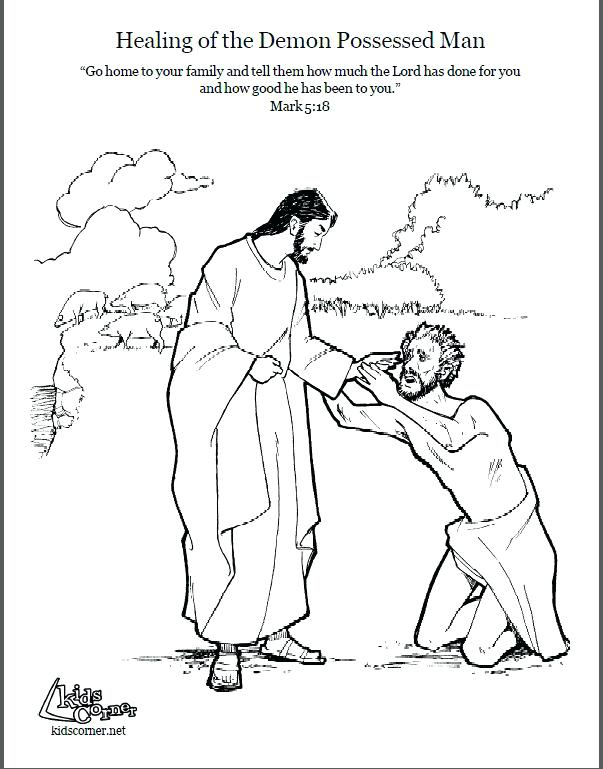603x769 Jesus Heals A Blind Man Coloring Page And The Demon Possessed Man