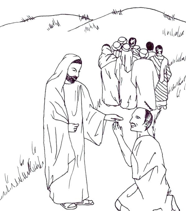 600x682 Sick Coloring Pages Heals The Lepers In Miracles Of Coloring Page