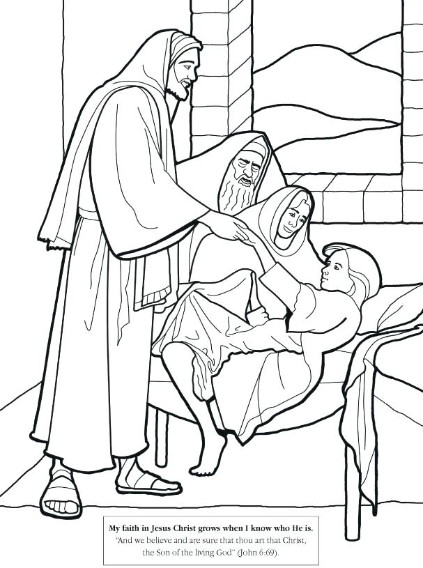 607x815 Healing Coloring Pages Healing Daughter Coloring Page Jesus Heals
