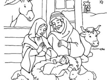 440x330 Baby Jesus Manger Scene Coloring Page Free Printable, Baby Jesus
