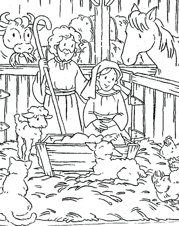 600x757 Baby Jesus Manger Scene Coloring Page Pages