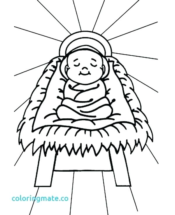 600x734 Colouring Pages Baby Jesus In A Manger Coloring Page Beautiful