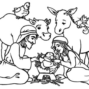 300x300 In A Stable Jesus Born Coloring Sheet Page Image Clipart Images
