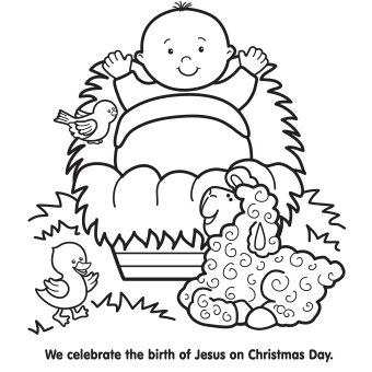 340x340 Jesus In Manger Coloring Page