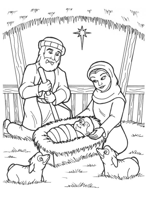 600x831 Jesus Is Born In A Manger In Nativity Coloring Page Color Luna