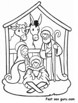 257x338 Printable Christmas Jesus In The Manger Coloring Pages