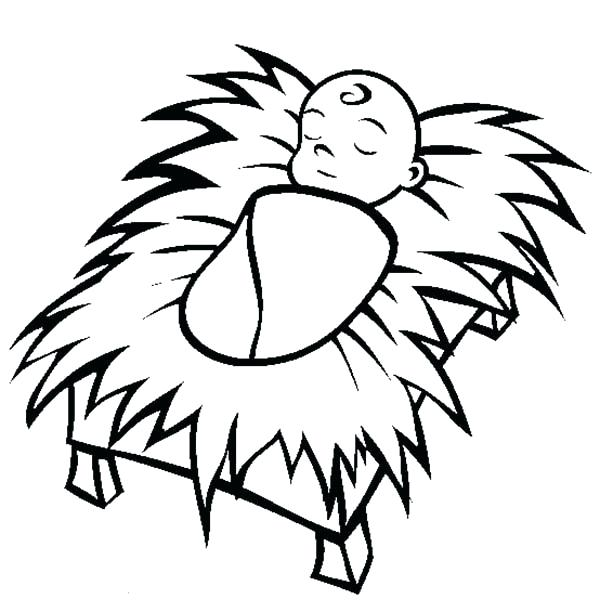 600x612 Coloring Baby Jesus Manger Coloring Page In Pages Babies Girl