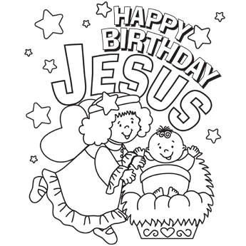 345x345 Happy Birthday Jesus Coloring Page