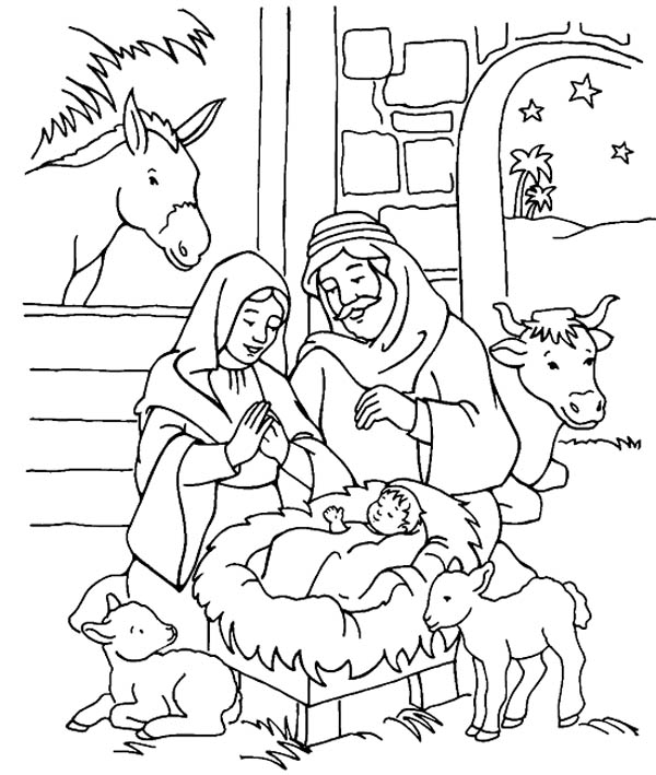 600x709 Scenery Of Nativity In Jesus Christ Coloring Page Color Luna