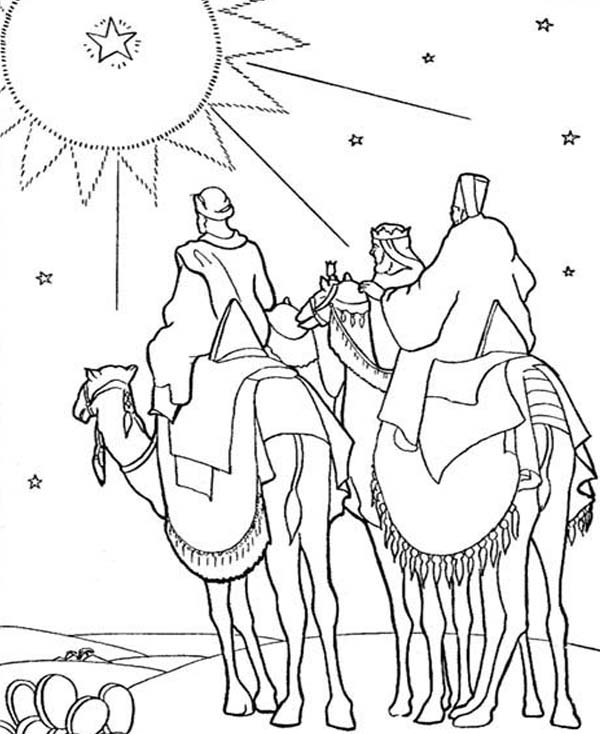 600x734 Three Kings Heading To Place Where Jesus Was Born Coloring Pages