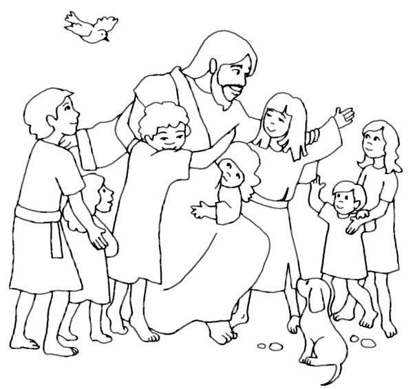 600x566 Jesus Loves Me, Jesus Loves Children And Jesus Love Me Coloring