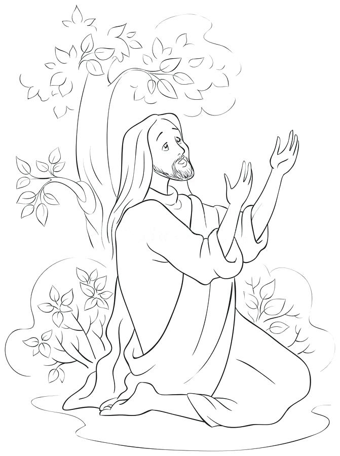 671x900 Jesus Praying Coloring Page Coloring Page Of Jesus Praying
