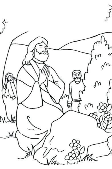 392x589 Jesus Praying In The Garden Of Gethsemane Coloring Page Disciples