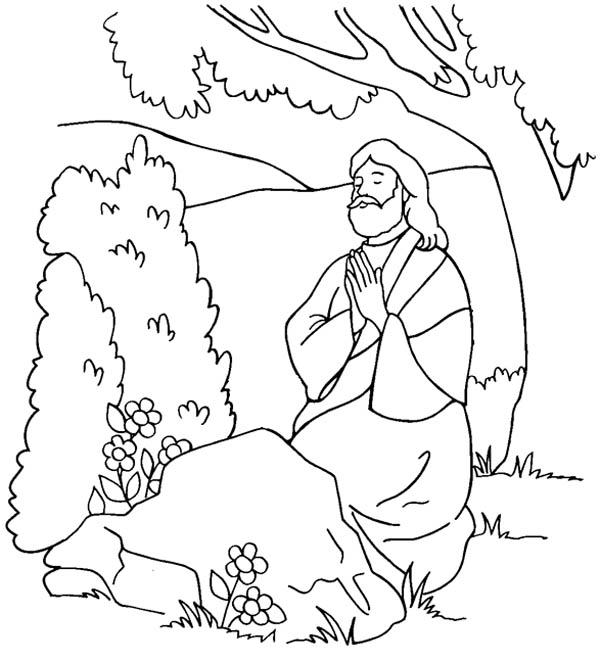 Jesus Praying Coloring Page At Getdrawings Com Free For Personal