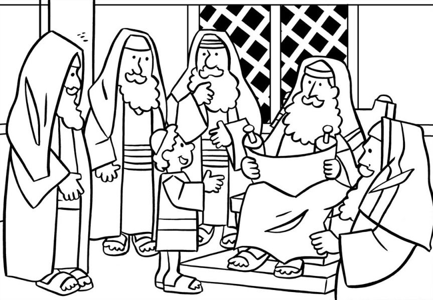 863x599 Jesus In The Temple Coloring Page Teaching