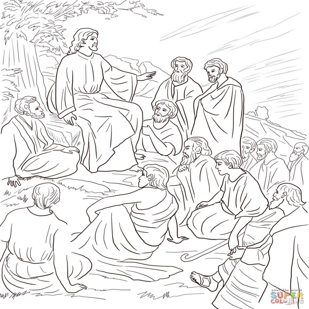 1024x1024 Jesus Teaching Coloring Pages Printable Printable Coloring Pages