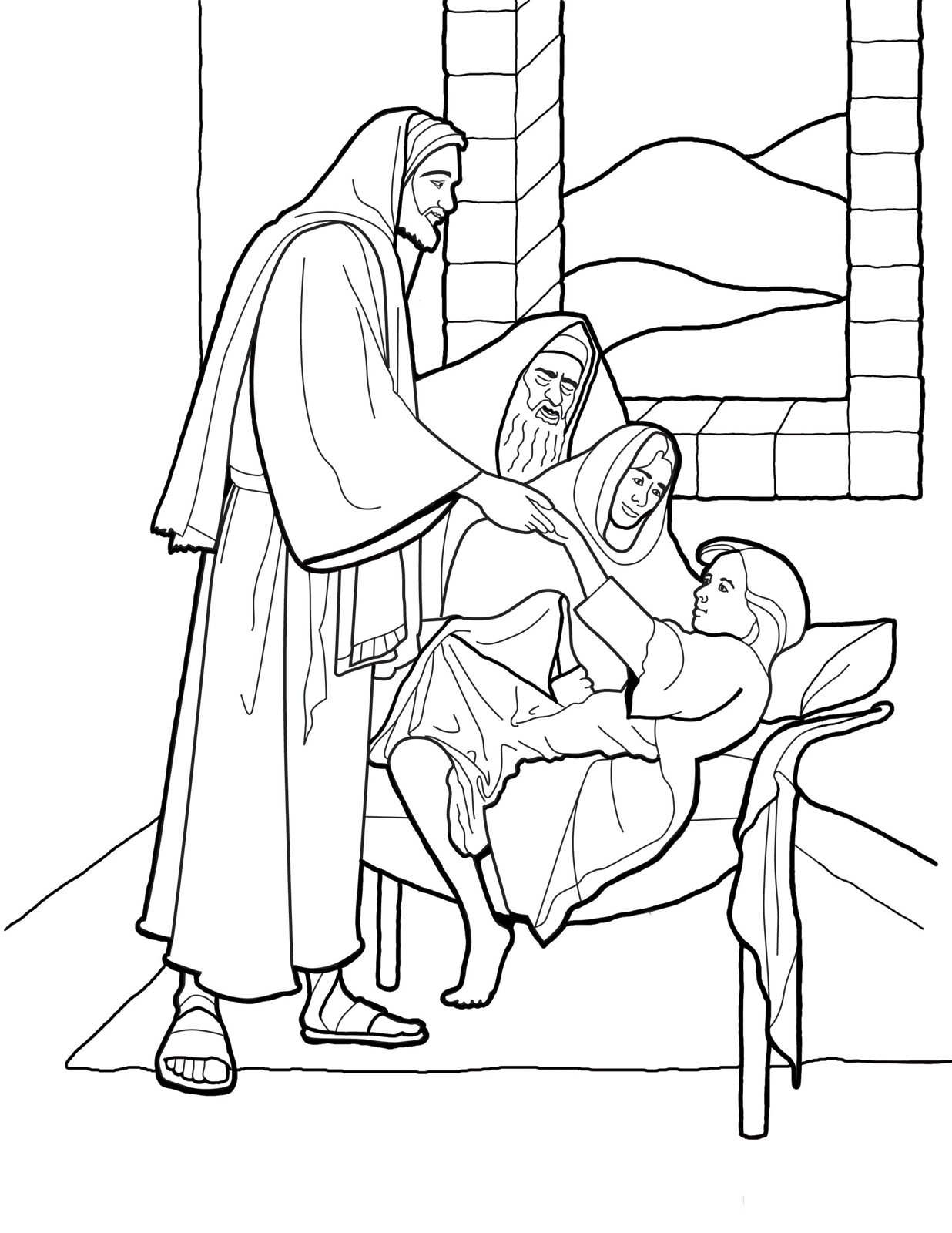 1236x1600 Christ Raising The Daughter Of Jairus Coloring Page