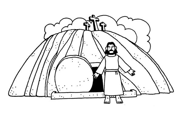 600x400 Jesus Burial And Jesus Resurrection Coloring Page