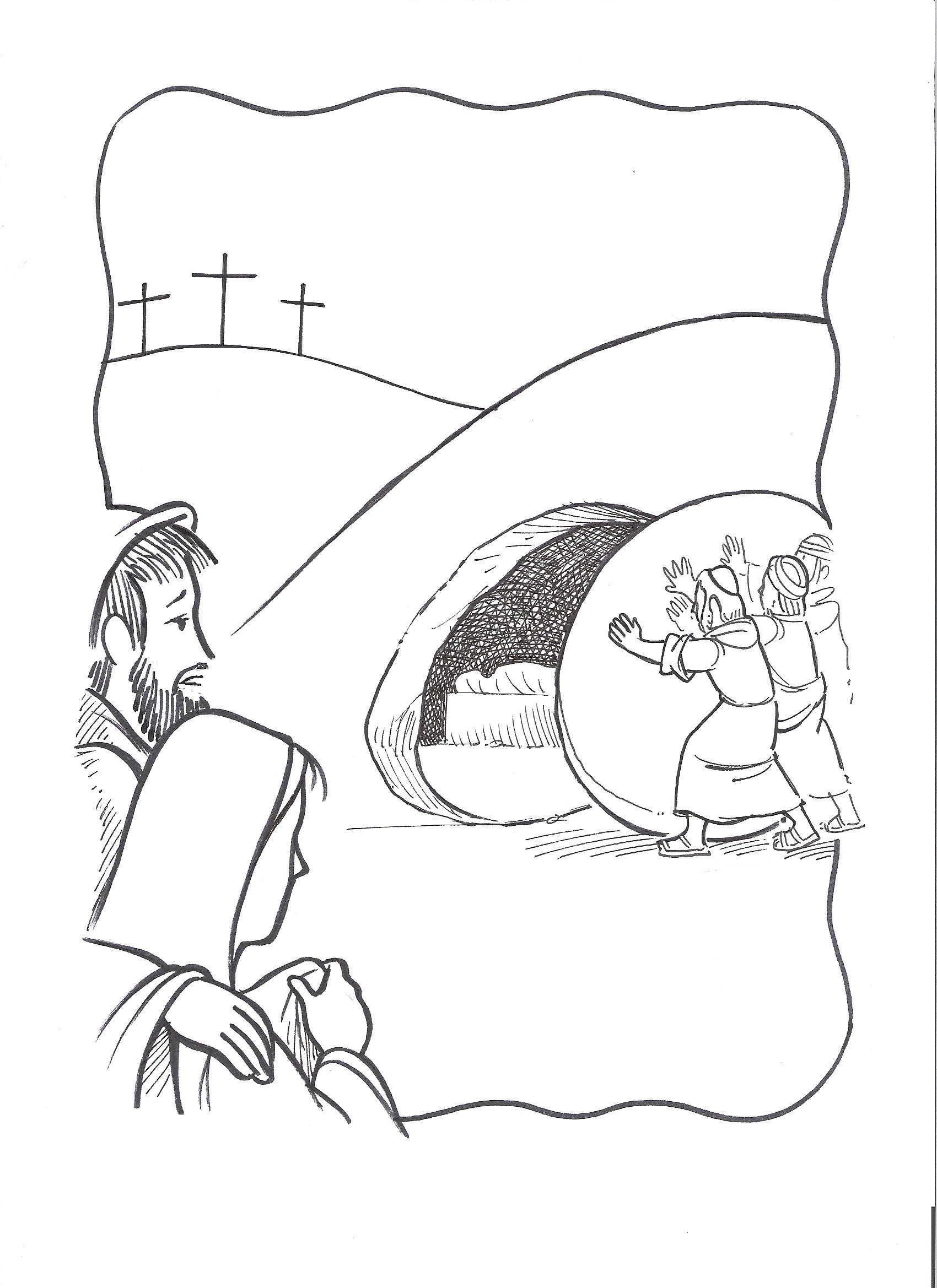 1700x2338 Jesus Burial Tomb Coloring Pag